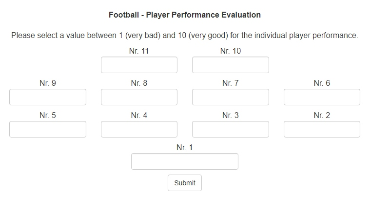 football player evaluation forms